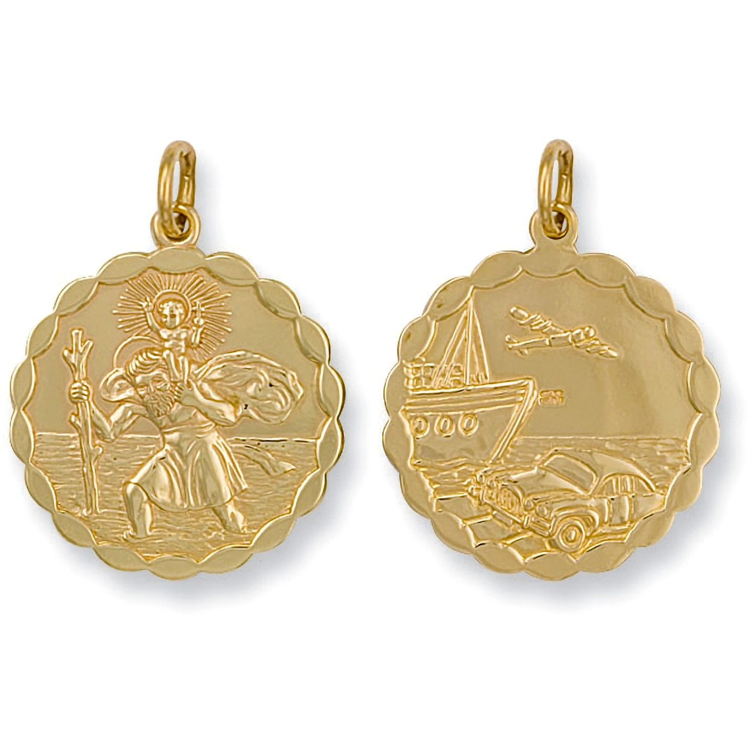 9ct Yellow Gold Double Sided Fancy St Christopher Pendant