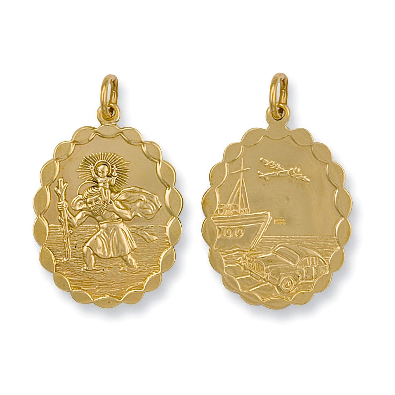 9ct Yellow Gold Double Sided Oval Shaped St Christopher Pendant