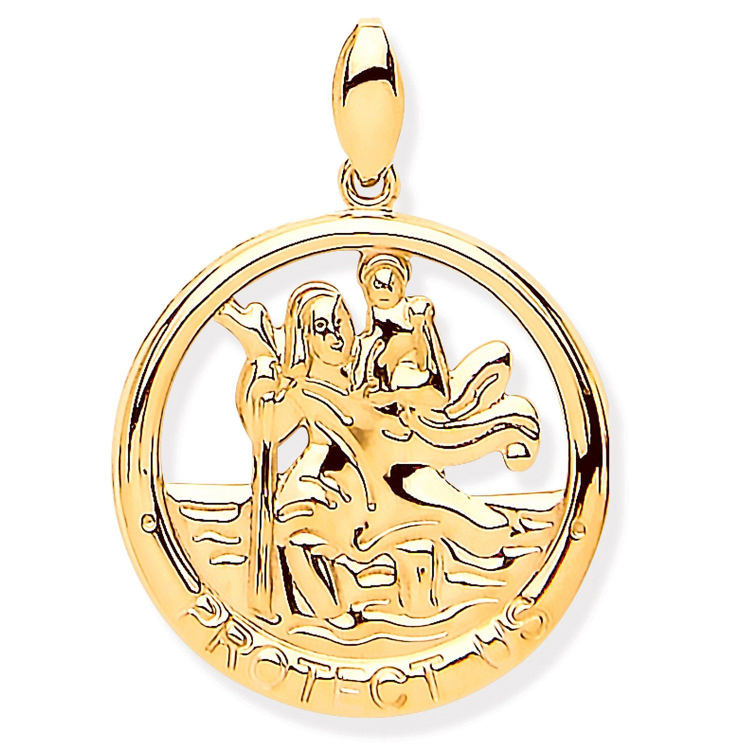 9ct Yellow Gold St Christopher Round Cut Out Protect Us Medal