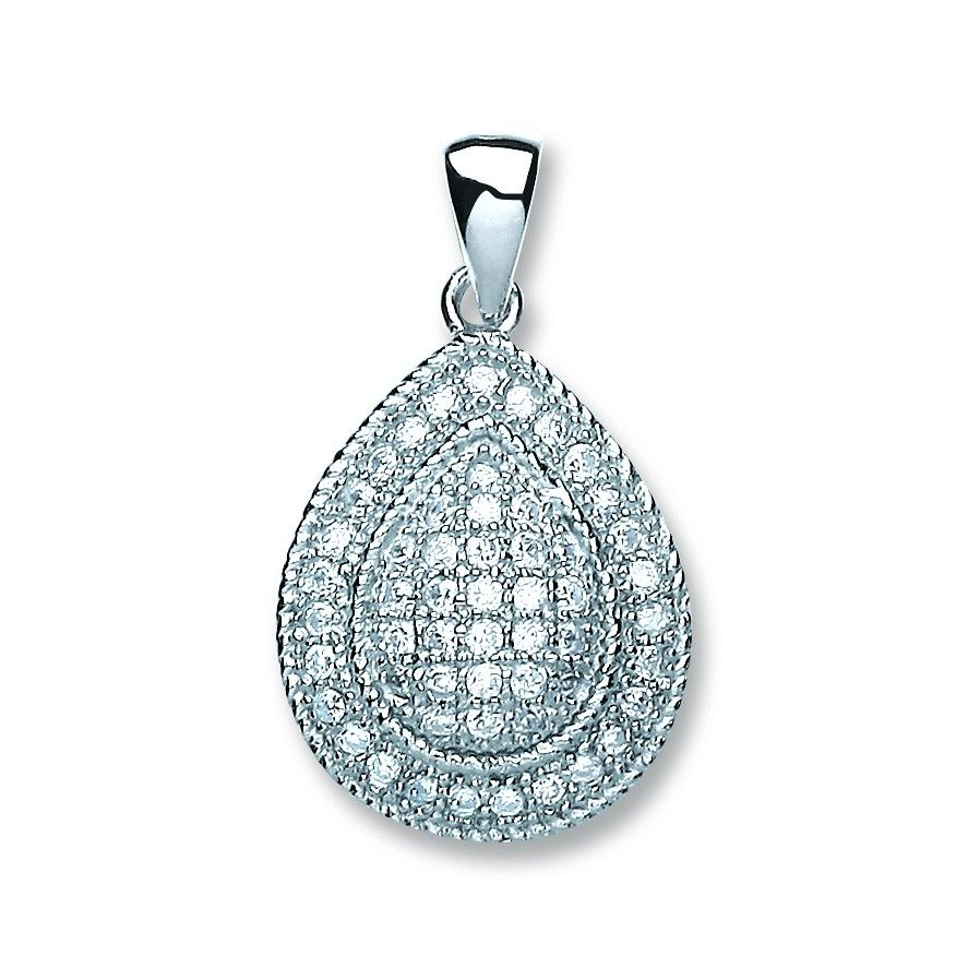 Silver gold plated Pear Shape Cz Pendant