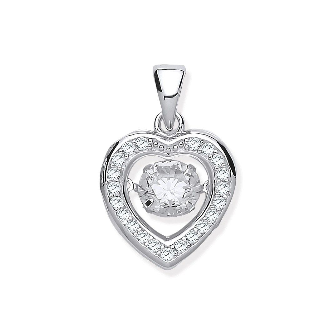 Silver Cz Heart Pendant with Hanging Shimering Cz