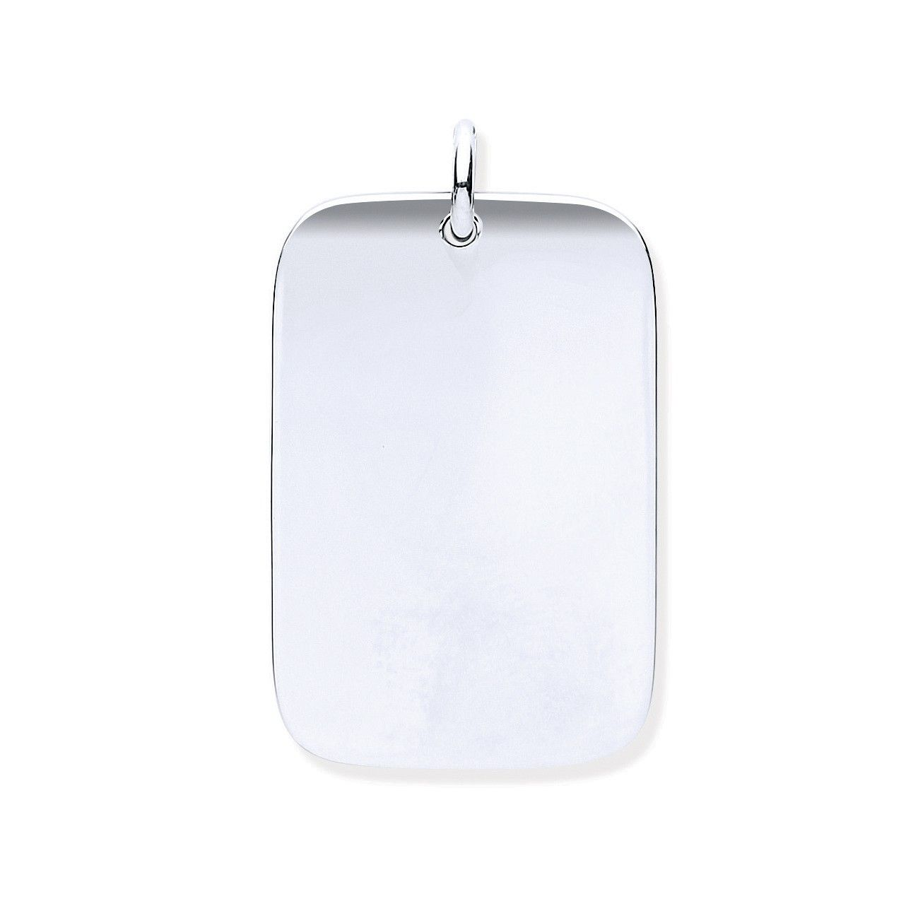 Silver Solid Dog Tag Pendant