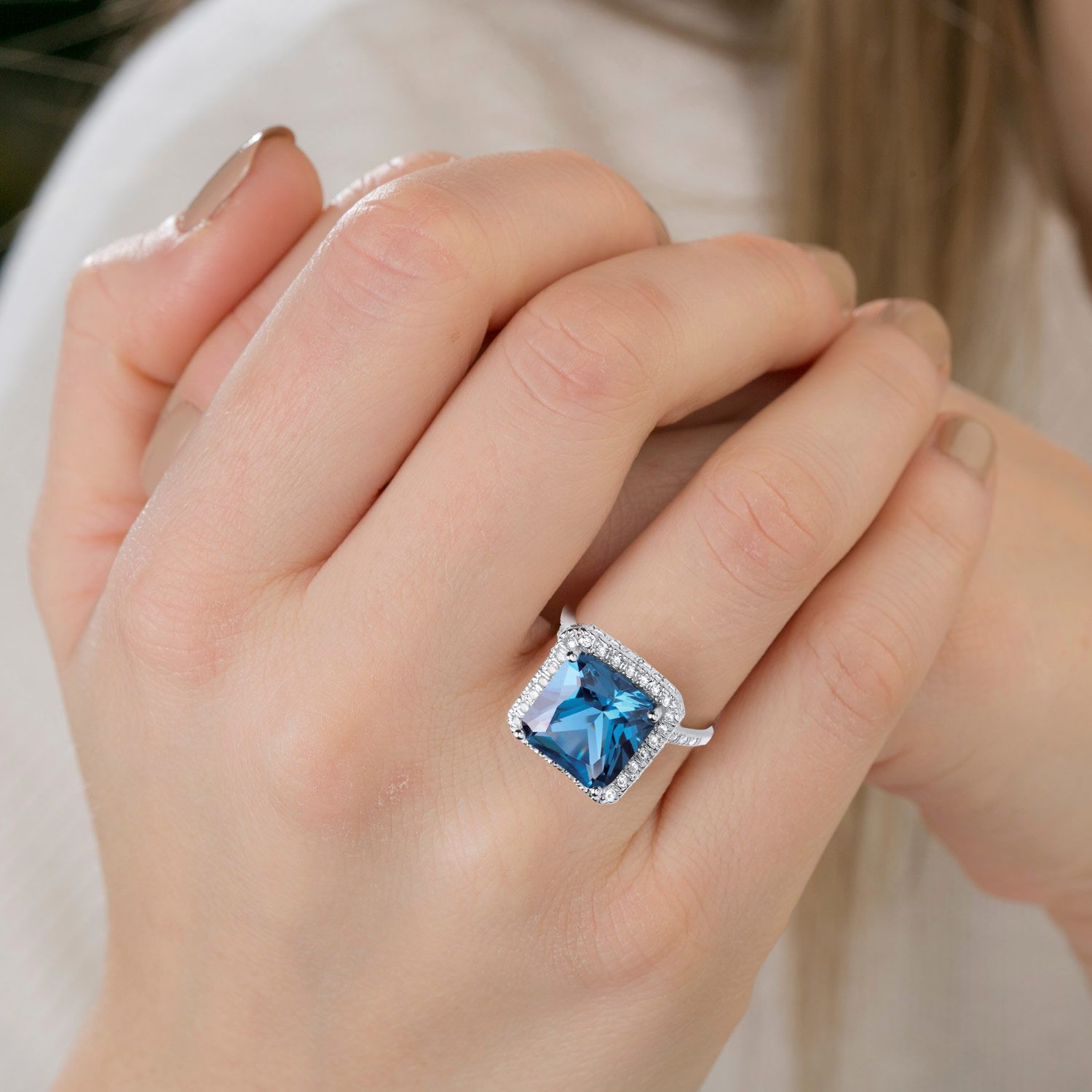 Silver Blue Colour Cz Cluster Ring Cubic Zirconia Silver