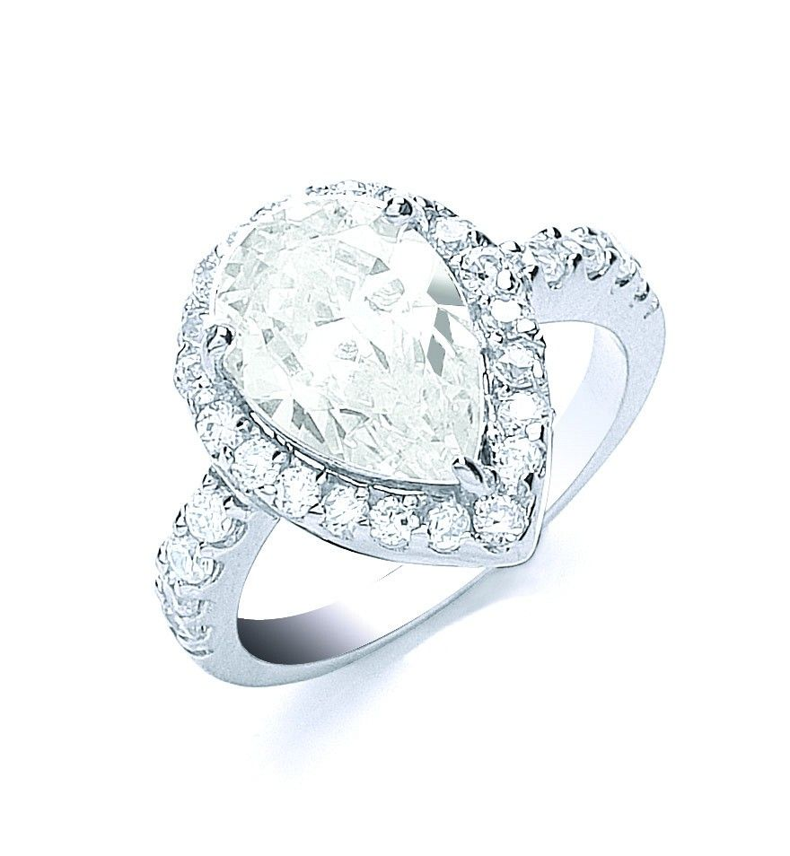 Silver Claw Set Pear Shape Centre Cz Ring
