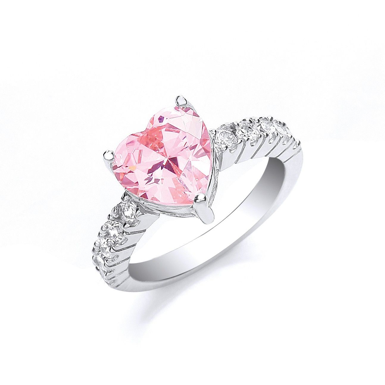 Silver Pink Heart Solitaire Cz with Cz on Shoulder Ring