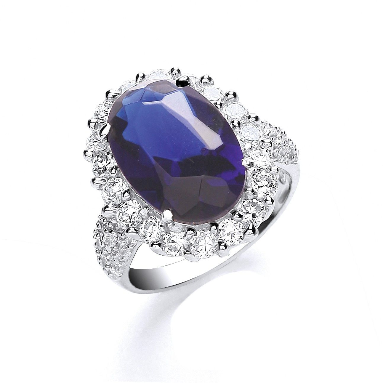 Silver Blue Oval Solitaire Cz with Cz Surrounding/Shld Ring