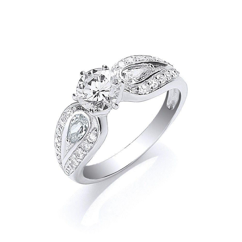 Silver Solitaire with Cz on Shoulders Ring