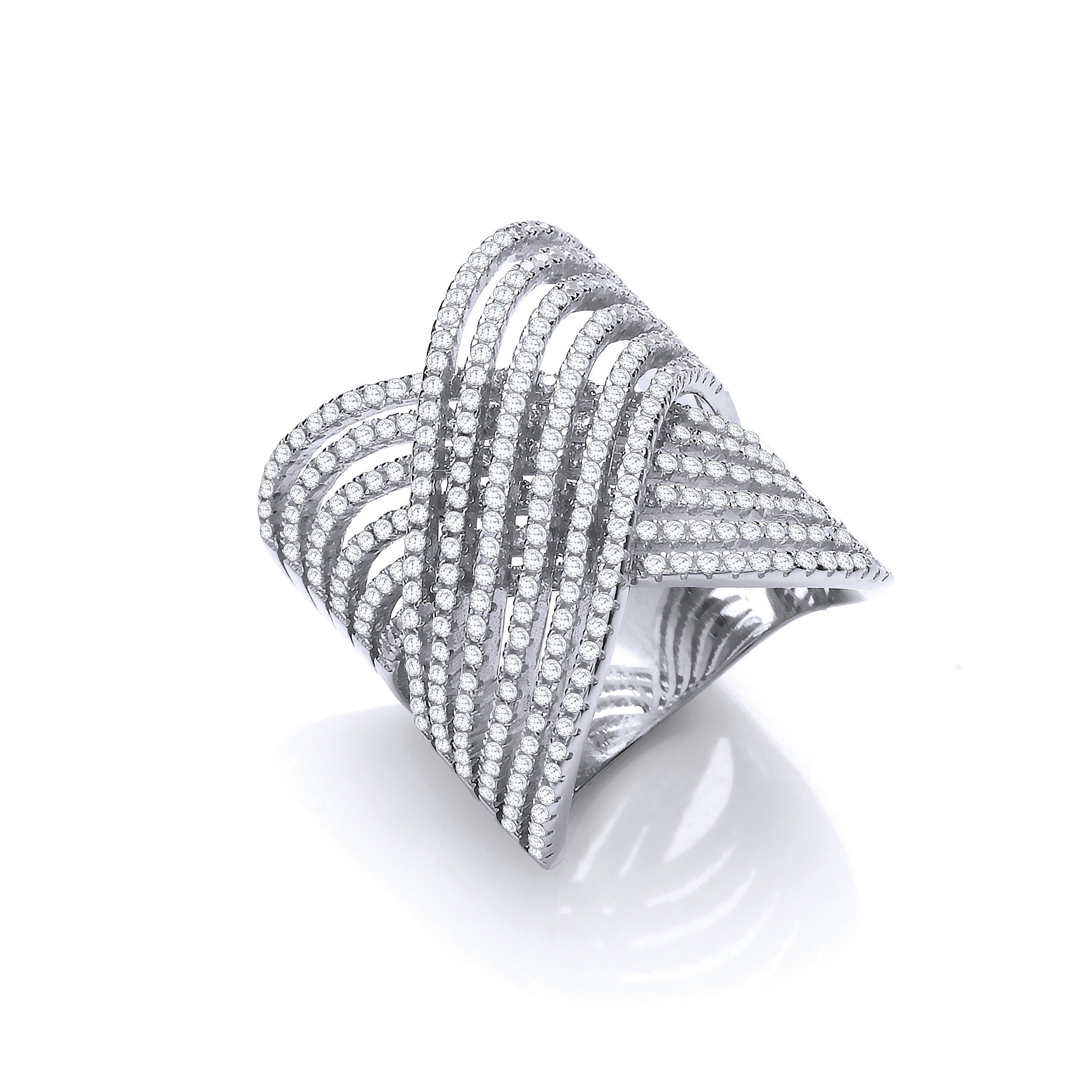 Silver Crossover Cz Ring