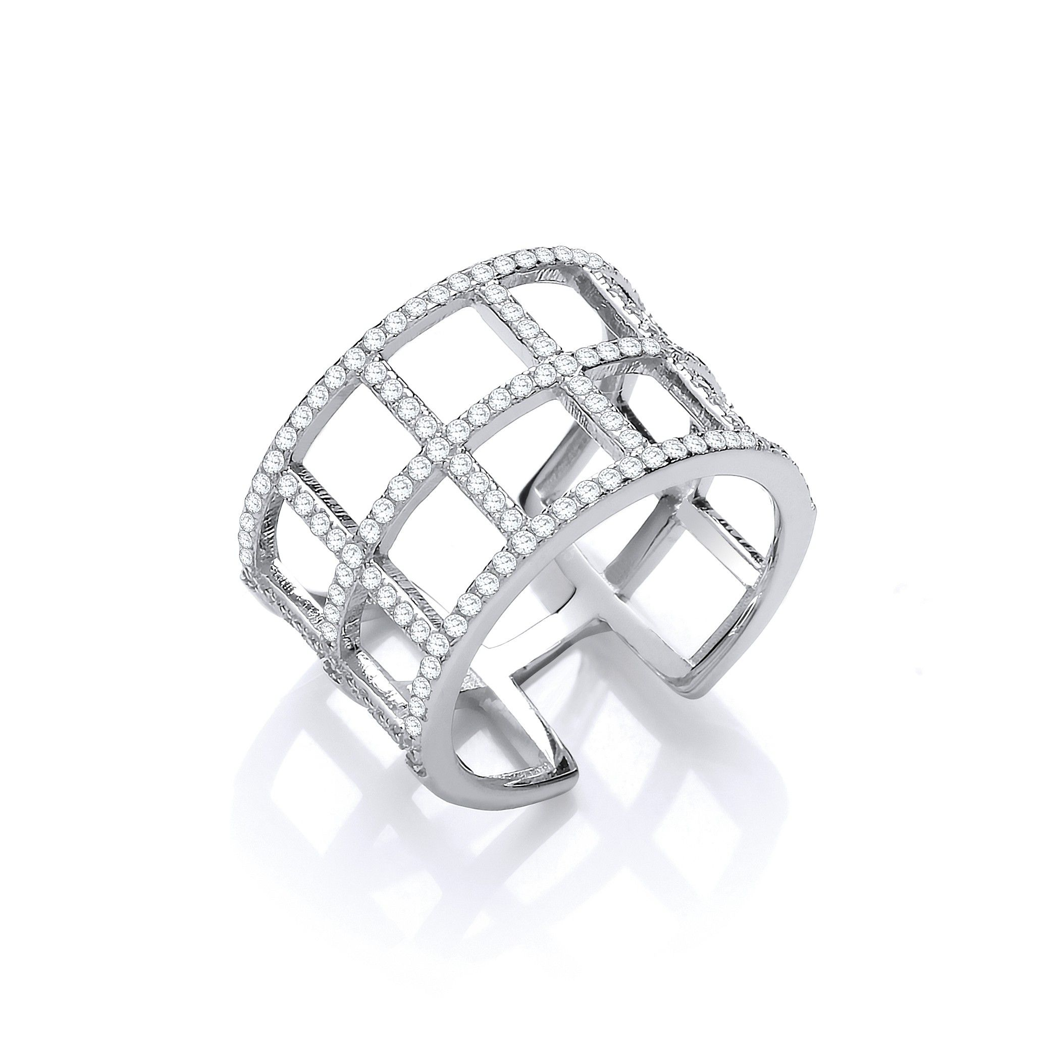 Silver Open Squares Cz Ring