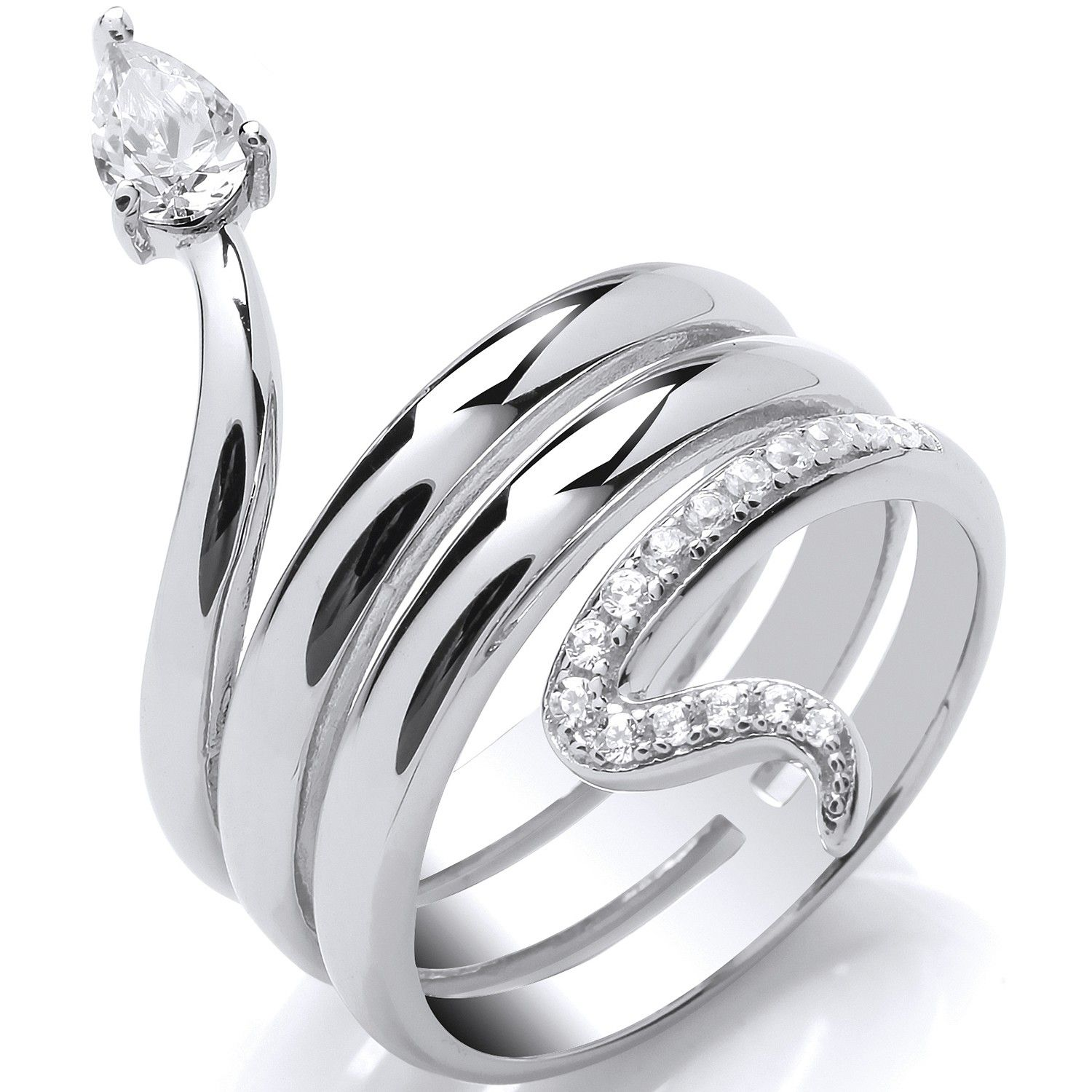 Silver and CZ  Snake Ring
