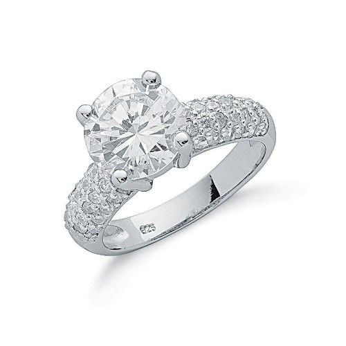 Silver Claw Set Fancy Cz Solitaire Ring
