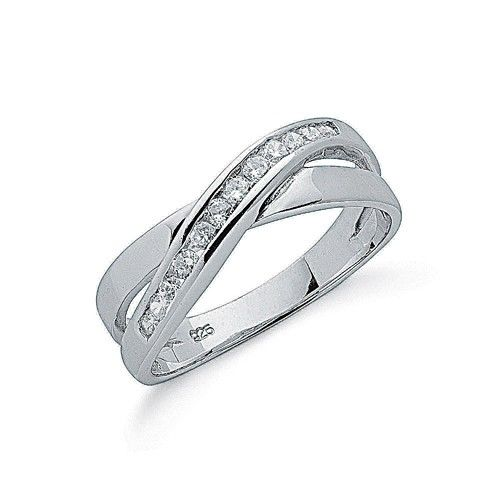 Silver Cross Over Cz Ring