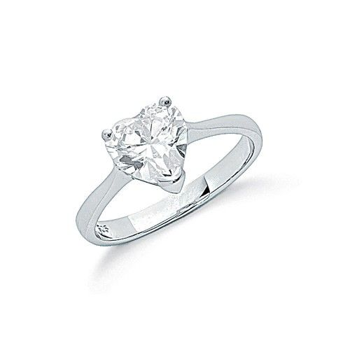 Silver Claw Set Heart Cut Cz Solitaire Ring