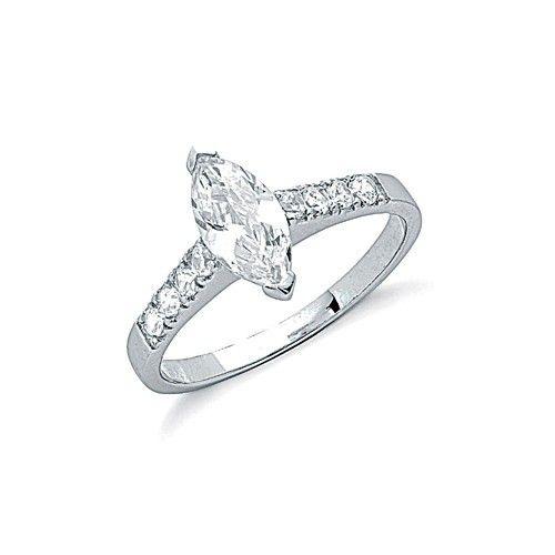 Silver Claw Set Marquise Cut Cz Solitaire Ring
