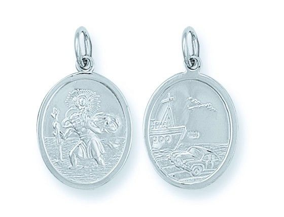 Silver Double Sided Oval St Christopher Pendant