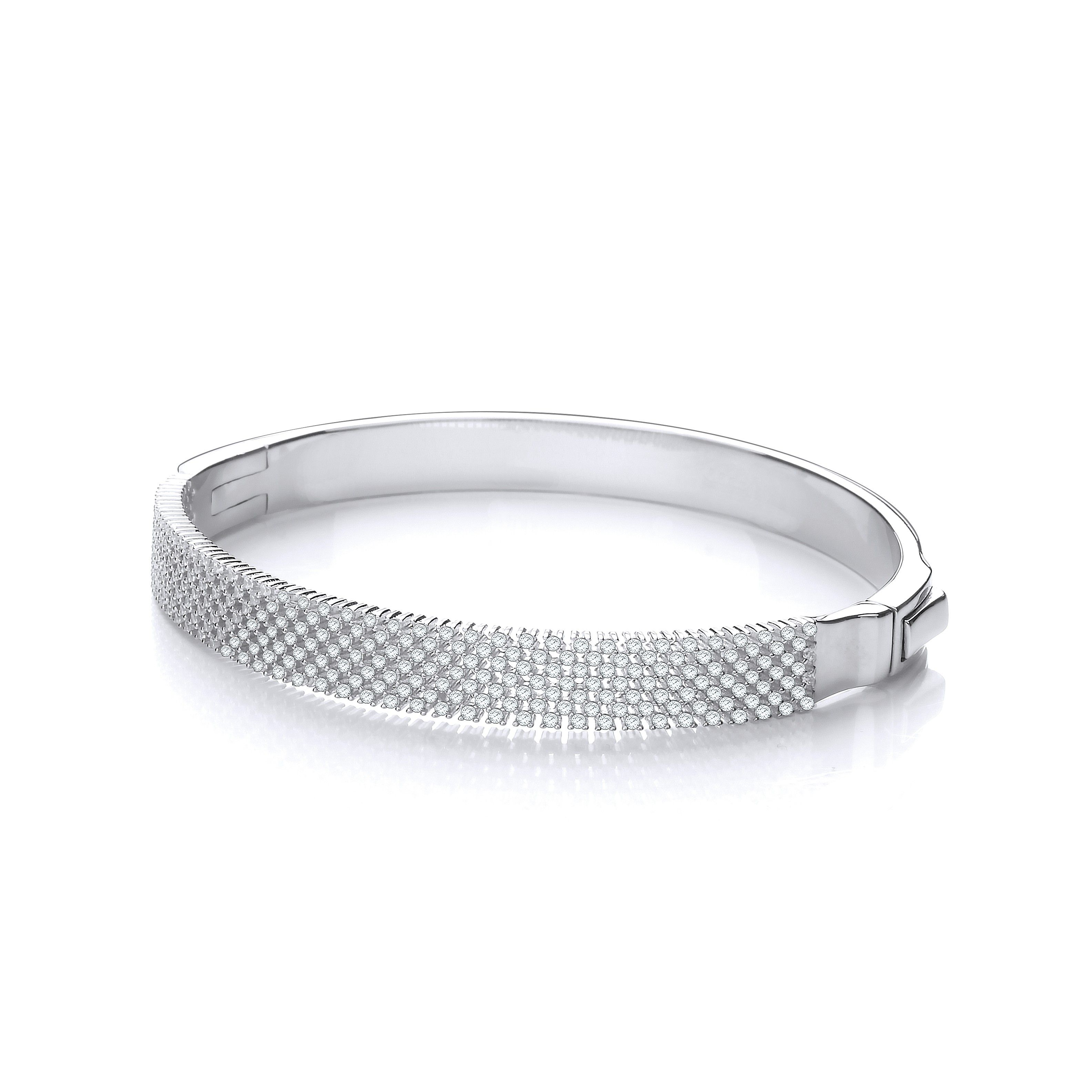 Sterling Silver Bangle Set With White Cubic Zirconia
