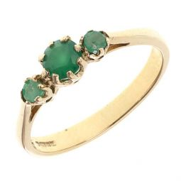 Pre-owned 9ct Yellow Gold Emerald Three Stone Ring - Size N
