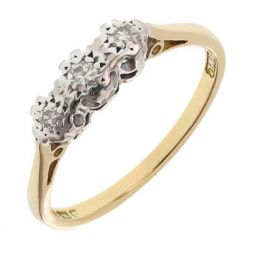 Pre-owned 18ct Yellow & White Gold Gemstone Three Stone Ring - Size M