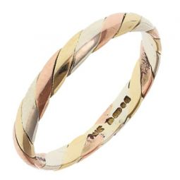 Pre-owned 9ct Multi Colour Gold Russian Style Band Ring - Size J