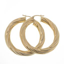 Pre-owned 9ct Gold Twisted Hoop Earrings - 6.5g