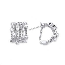 Silver Rd Brilliant Cz Timeless Style Earring