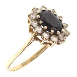 Pre-owned 9ct Yellow Gold Sapphire Cluster Ring - Size P