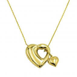 18ct Gold Hearts Pendant With Chain