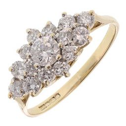 Pre-owned 9ct Yellow Gold Cluster Ring - Size P