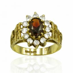 Pre-owned Garnet And Cz Ring