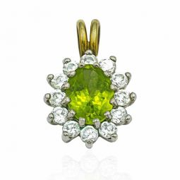 Pre-owned Green And White Cz Pendant