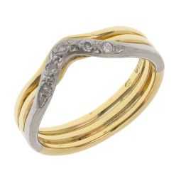 Pre-owned 18ct Yellow & White Gold Diamond Wishbone Ring - Size J