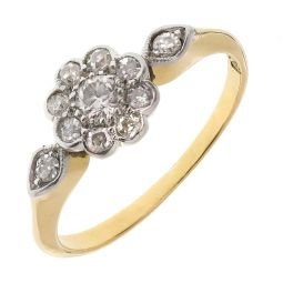 Pre-owned 18ct Yellow & White Gold  0.60ct Diamond  Cluster Engagement Ring
