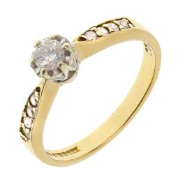 Pre-owned 9ct Yellow Gold Single Stone 0.23ct Diamond Engagement Ring