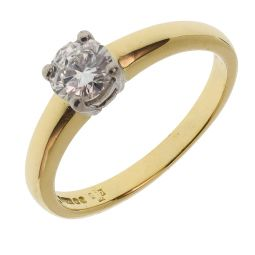 Pre-owned 18ct Yellow & White Gold Single Stone 0.50ct Diamond Engagement Ring
