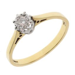 Pre-owned 9ct Yellow & White Gold Single Stone Diamond Engagement Ring