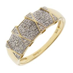 Pre-owned 9ct Yellow Gold Gemstone Dress Ring - Size R 1/2