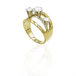 Pre-owned 18ct Yellow Gold Ring With Diamonds And Sapphire