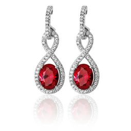 Silver Infinity Shape Cz & Red Drops Rhodium Plated Earrings