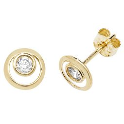 9ct Yellow Gold Cz Double Circle Stud Earrings