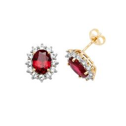 9ct Yellow Gold Stud Earrings Oval Created Ruby & White Sapphire