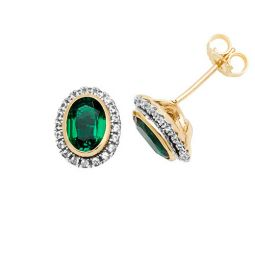 9ct Yellow Gold Stud Earrings Oval Created Emerald & White Sapphire