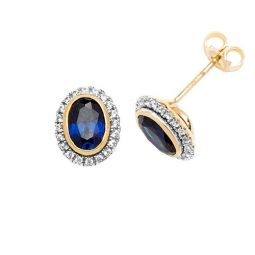 9ct Yellow Gold Stud Earrings Oval Created Sapphire & White Sapphire