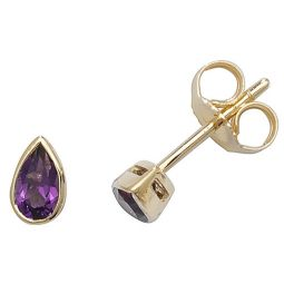 9ct Yellow Gold Amethyst Rubover Studs