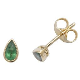 9ct Yellow Gold Emerald Rubover Studs