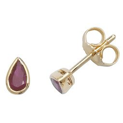 9ct Yellow Gold Ruby Rubover Studs
