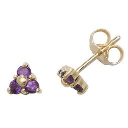 9ct Gold Amethyst Rubover Studs
