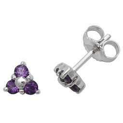 9ct White Gold Amethyst Rubover Studs