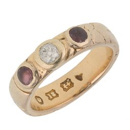 Pre-owned 18ct Gold  Three stone Ring - 5g - Size H