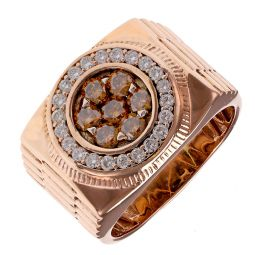 Pre-Owned 14ct Rose Gold Champagne Diamond Round Signet Ring - 18G