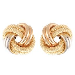 Pre-Owned 18ct Yellow Gold Knot Multi-colour Earrings